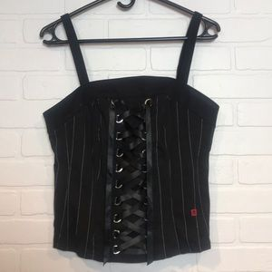 Tripp NYC corset Torrid goth plus Sz pinstripe 14